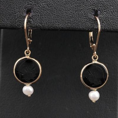 14K Black Onyx Intaglio Roman Soldier Earrings with Pearl Drops