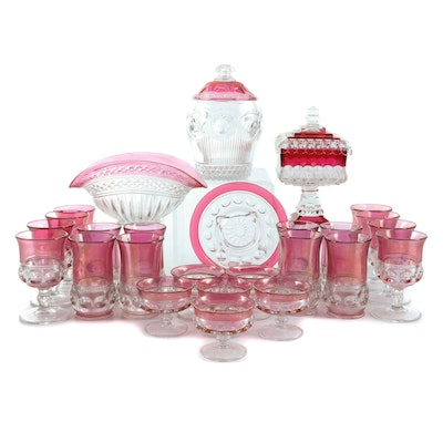 """Tiffin-Franciscan """"King's Crown"""" Cranberry Flashed Glassware and Other Tableware"""