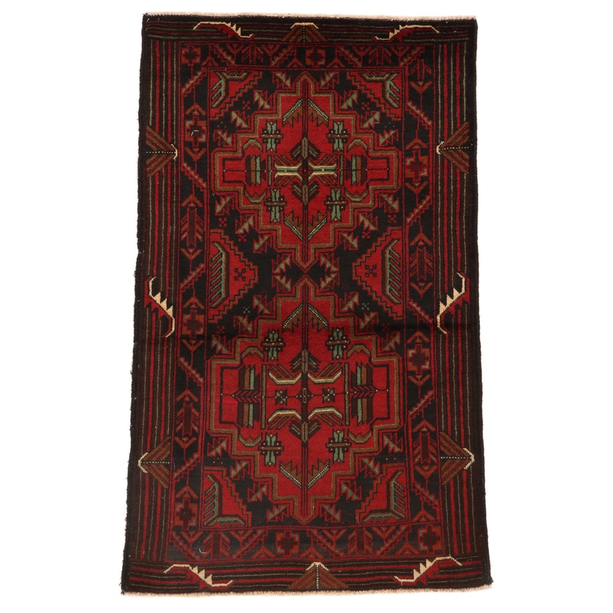 2'10 x 5' Hand-Knotted Afghan Baluch Accent Rug