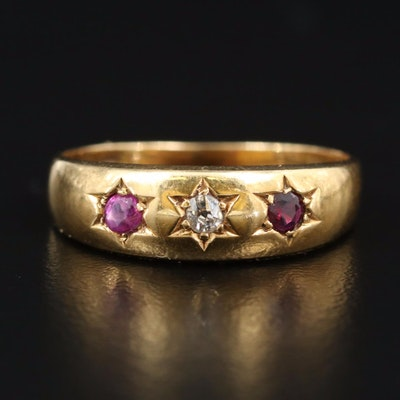Victorian 18K Diamond and Ruby Band