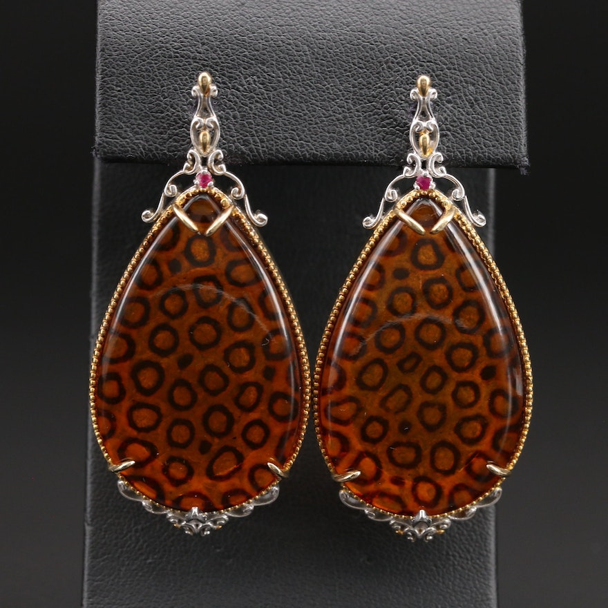 Michael Valitutti Sterling Leopard Print Earrings Faux Amber and Ruby