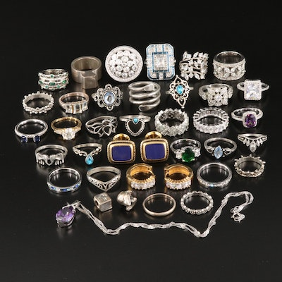 Rings, Cufflinks, Sterling Pendant Necklace and Pandora Bible Charm
