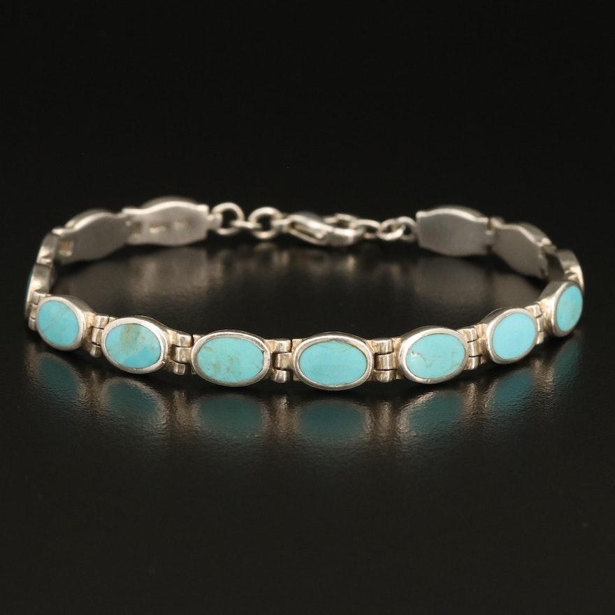 Sterling Faux Turquoise Bezel Bracelet