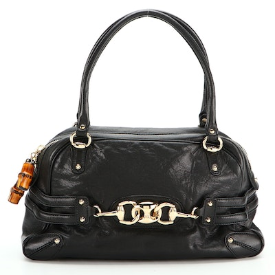 Gucci Wave Boston Bag in Black Goatskin with Bamboo Detail