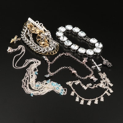 Selection of Bracelets and Charms Including Sterling and Bead Chain Necklace