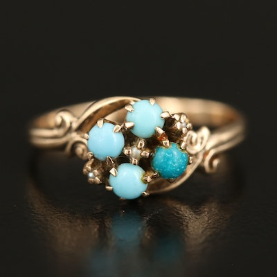 Victorian 10K Turquoise and Seed Pearl Ring