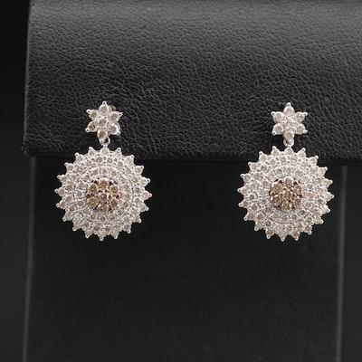 14K 1.45 CTW Diamond Cluster Drop Earrings