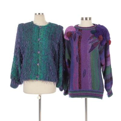 MarieaKim Sweater in Wool and Rabbit Fur with Fiberwork Jacket