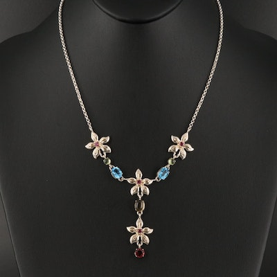 Sterling Topaz, Garnet and Citrine Floral Drop Necklace with 18K Accents