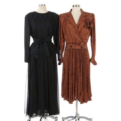 William Pearson Black Evening Dress with Tie Belt and Printed Silk Dress
