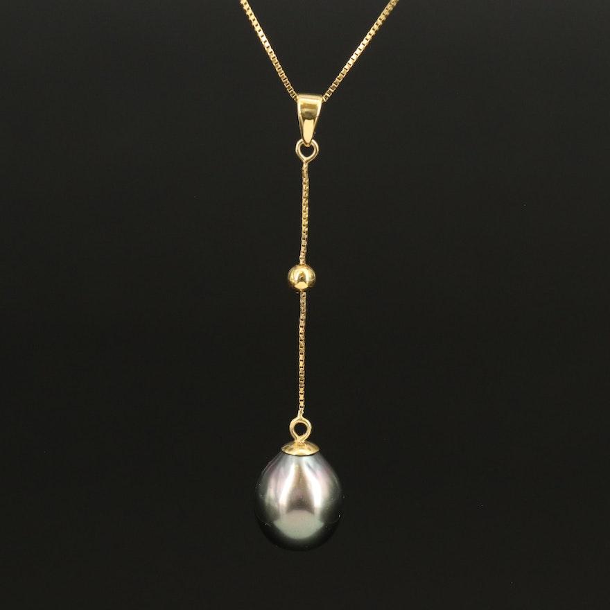 14K Pearl Drop Necklace