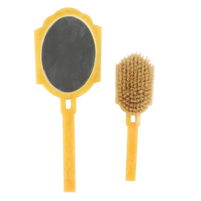 Art Deco Hand Mirror and Hair Brush, Early to Mid-20th Century
