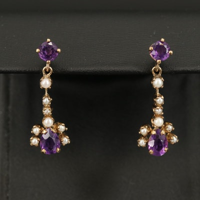 Vintage 10K Amethyst and Pearl Earrings