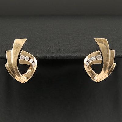10K 0.12 CTW Diamond Geometric Earrings