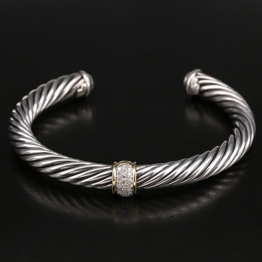David Yurman Sterling Diamond Cable Cuff with 18K Accent