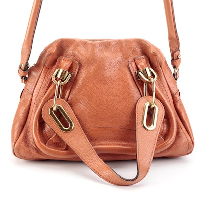 Chloé Paraty Grained Leather Two-Way Bag in Terra Cotta
