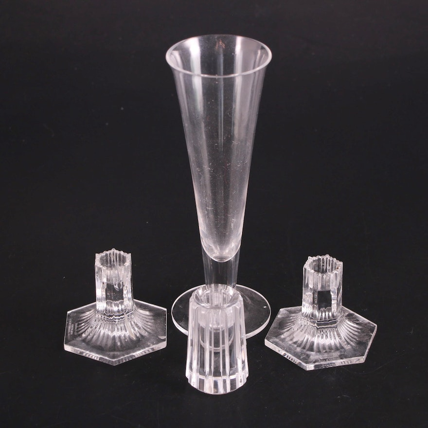 Tiffany & Co. Crystal Candlesticks and Footed Vase