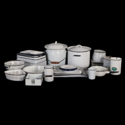 Enamelware Kitchenware, Pots, Pans, and More, Early to Mid-20th Century