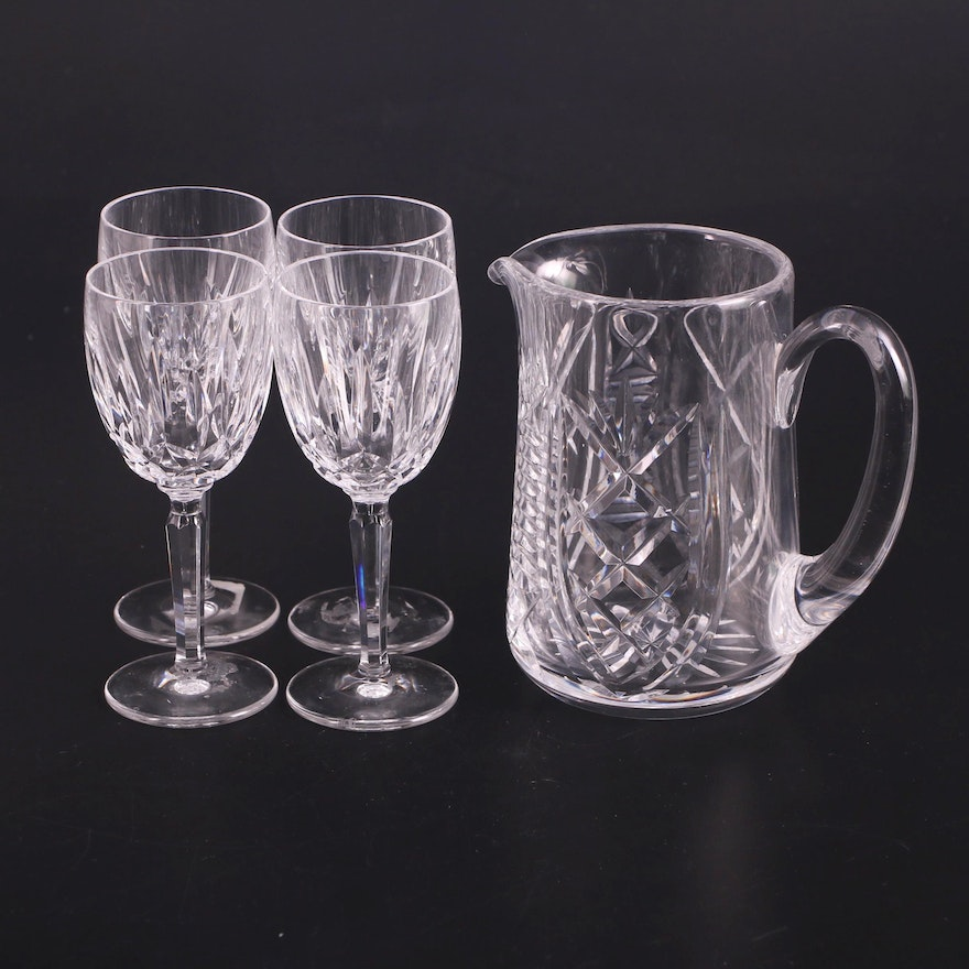 """Waterford Crystal """"Clare"""" Pitcher and """"Kildare"""" Claret Wine Glasses"""