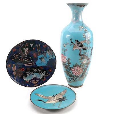 Japanese Bird and Fan Motif Cloisonné Vase and Chargers, Late 19th/Early 20th C.