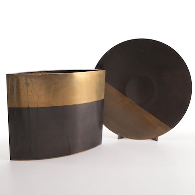 Michael Aram Modernist Brass Candle Holder and Plate with Stand
