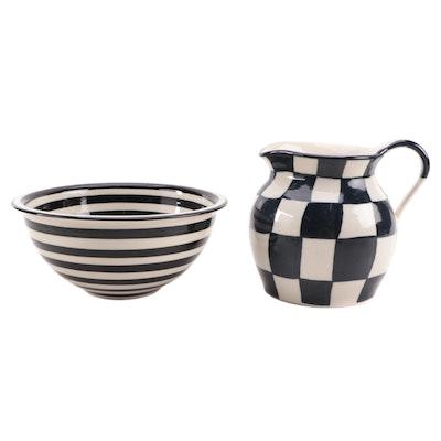 Le Cherche Midi Ceramic Pitcher with Mixing Bowl, Late 20th Century
