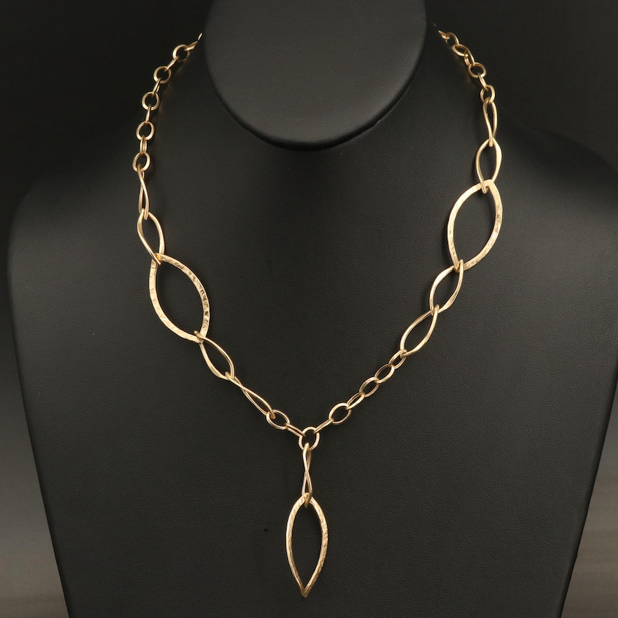 14K Fancy Link Necklace with Drop