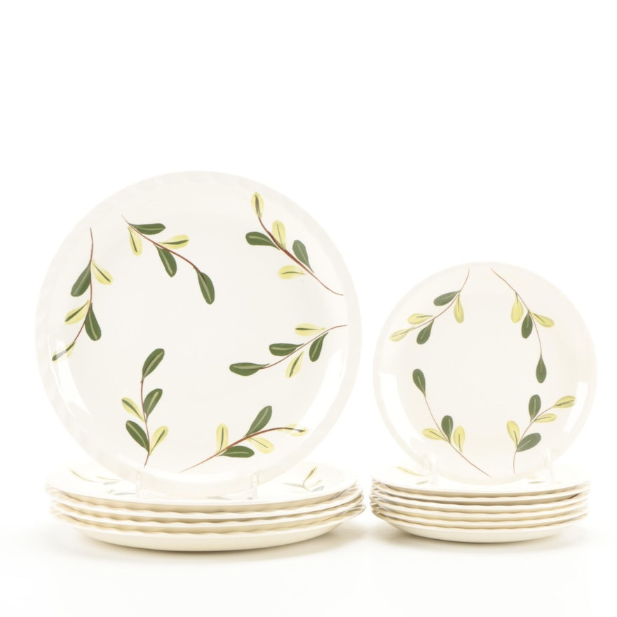 Blue Ridge Southern Potteries Ceramic Leaf and Branch Salad and Dinner Plates