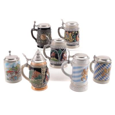 Thewalt Alt-Grenzau, Gerz and Other German Stoneware Beer Steins