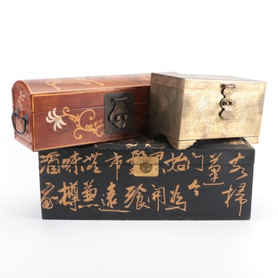 Chinese Decorative Boxes with Chased Brass Music Box