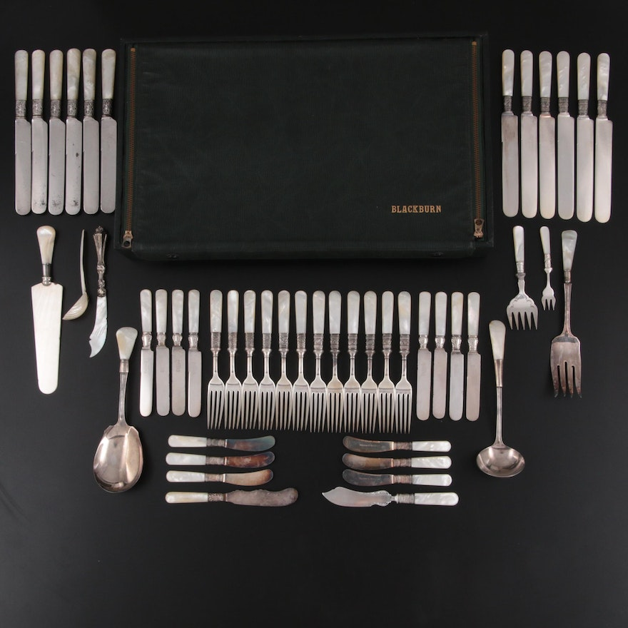 Holmes & Edwards and Other MOP Handled Flatware with Sterling Bolsters, Antique