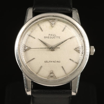 Vintage Paul Breguette Diamond Dial Stainless Steel Automatic Wristwatch