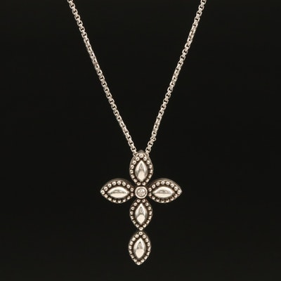 Charles Krypell Sterling 0.02 CT Diamond Firefly Cross Pendant Necklace