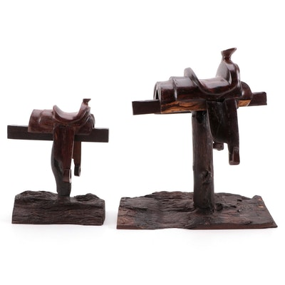 Hand-Carved Ironwood Saddle Stand Figures