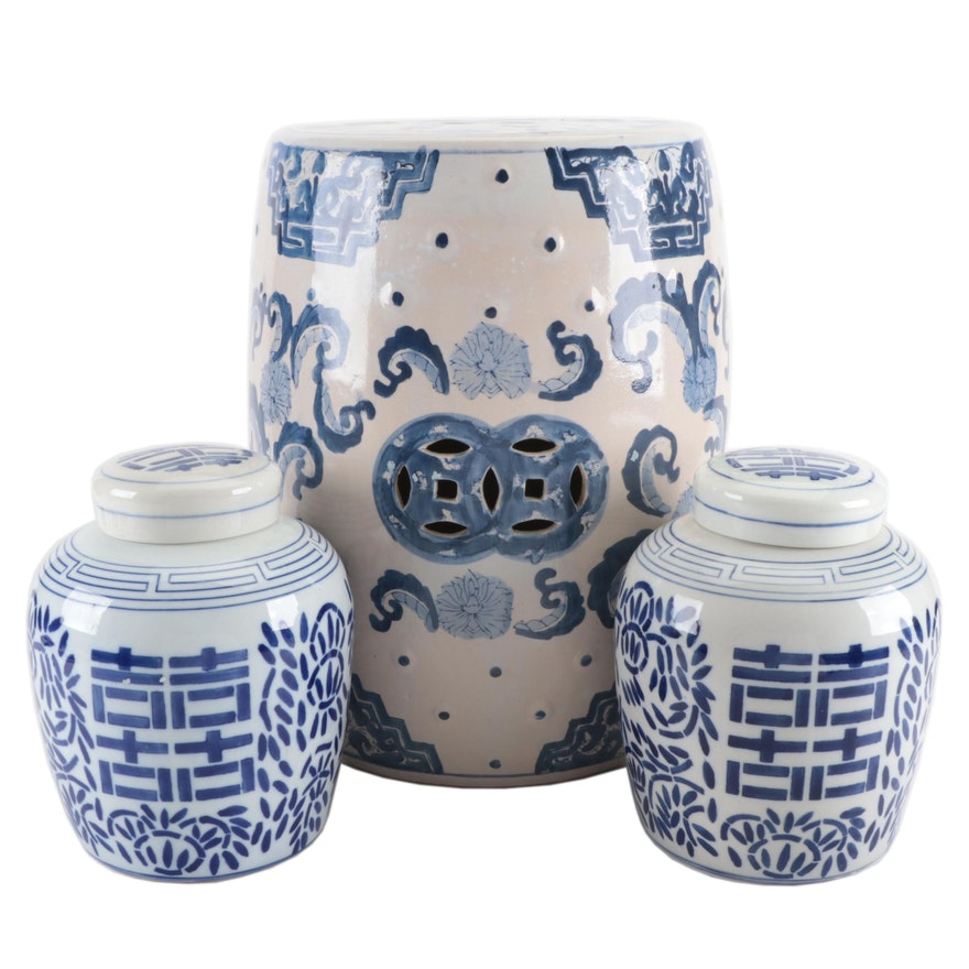 Chinese Blue and White Porcelain Ginger Jars with Ceramic Garden Stool