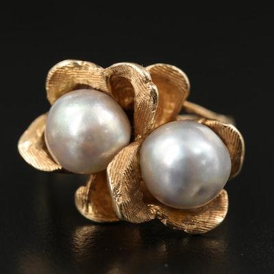 14K Pearl Floral Ring