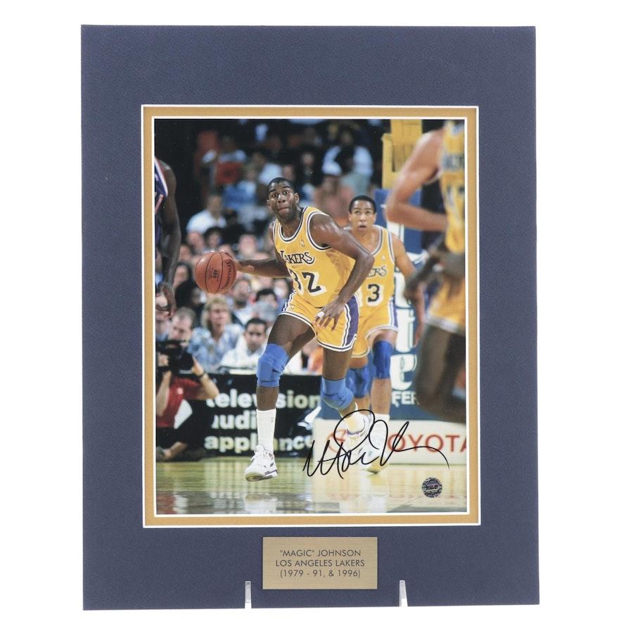 """Magic"" Johnson Signed Los Angeles Lakers NBA Photo Print, COA"