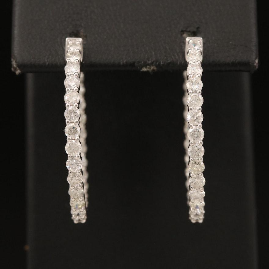 14K 2.92 CTW Diamond Inside-Out Hoop Earrings