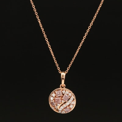 18K Rose Gold 0.72 CTW Diamond Pendant Necklace