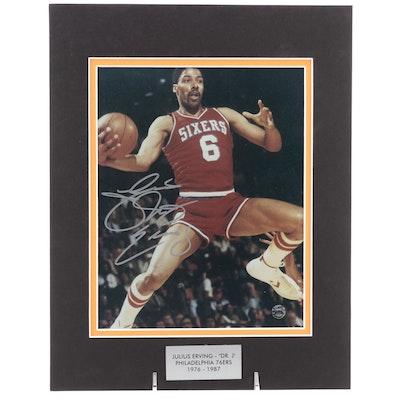 "Julius Erving Signed ""Dr. J"" Philadelphia 76ers NBA Basketball Photo Print, COA"