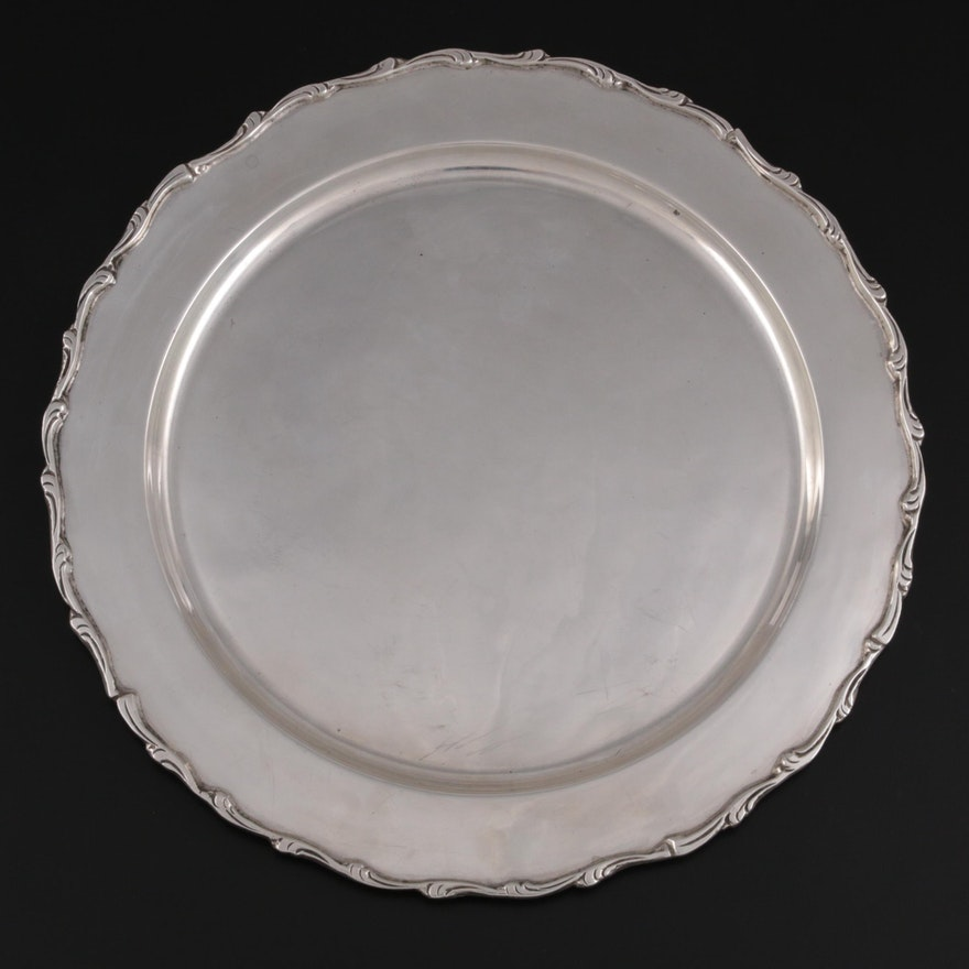 Sterling Silver Round Tray, Mid-20th Century