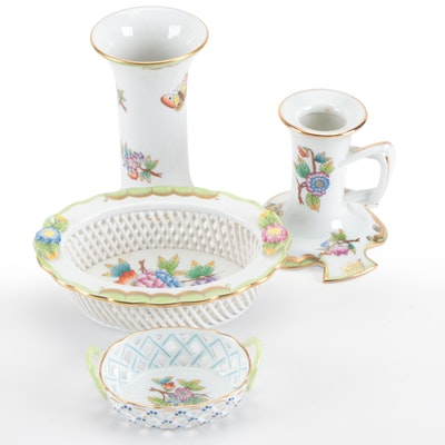 """Herend """"Queen Victoria"""" Open Weave Baskets and Other Table Accessories"""