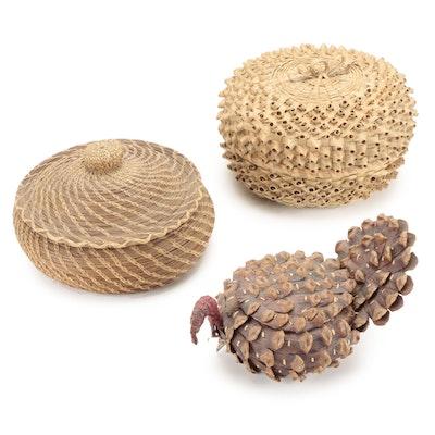 Native American Iroquois Strawberry Basket, Pinecone Koasati Basket, and More