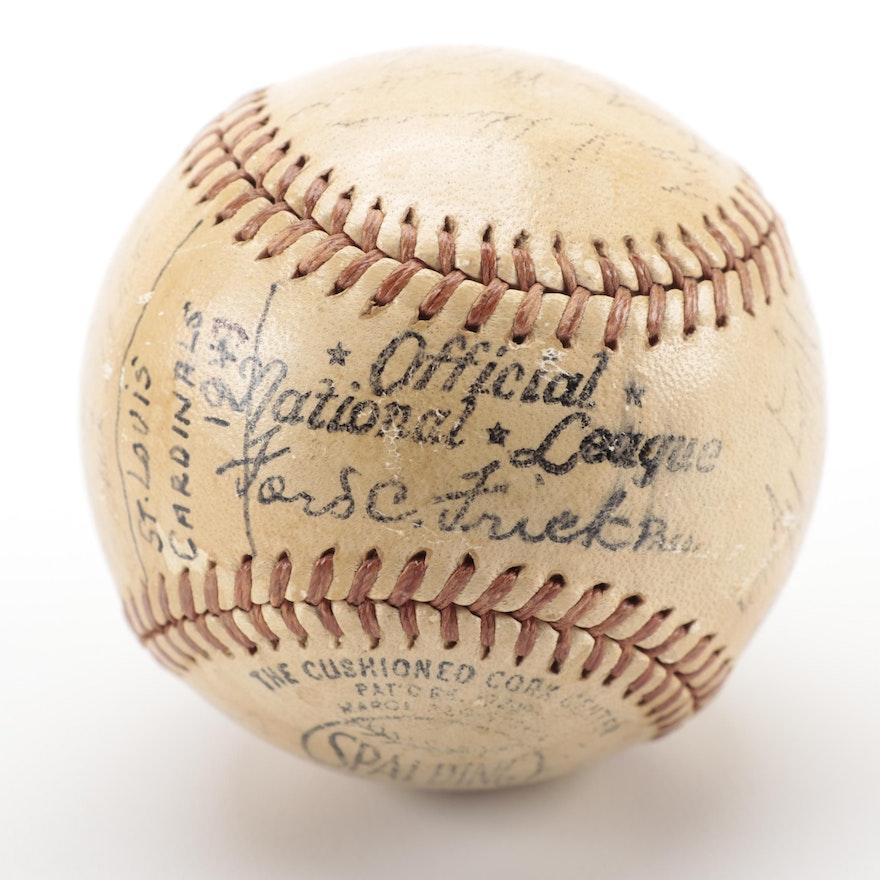 1943 St. Louis Cardinals Signed Baseball, COA