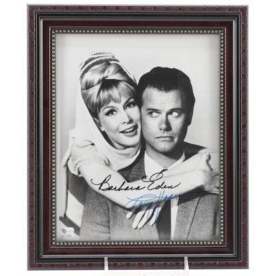 "Larry Hagman and Barbara Eden Signed ""I Dream of Jeannie"" TV Show Print, COA"