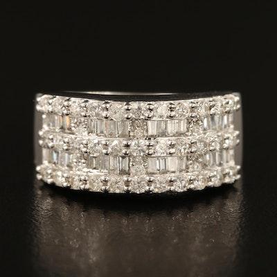 14K 1.09 CTW Diamond Multi-Row Ring