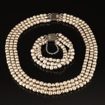 Mexican Alicia Plata Sterling Beaded Triple Strand Bracelet and Necklace Set