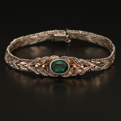 Sterling Riccio Chain Bracelet with Glass