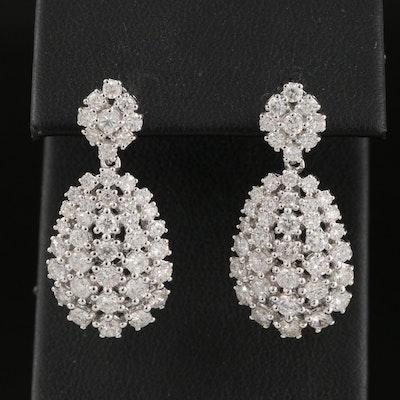 14K 3.30 CTW Diamond Teardrop Cluster Earrings