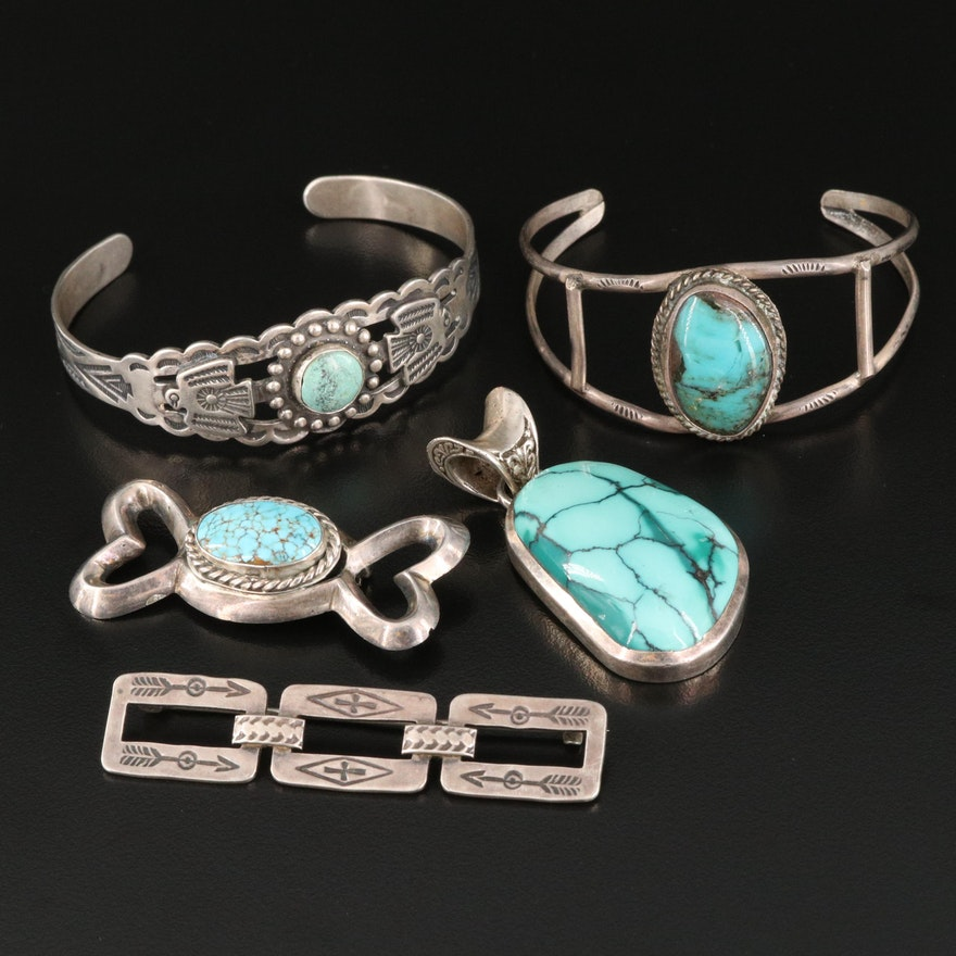 Southwestern Style Sterling and Turquoise Bracelets, Brooches and Pendant